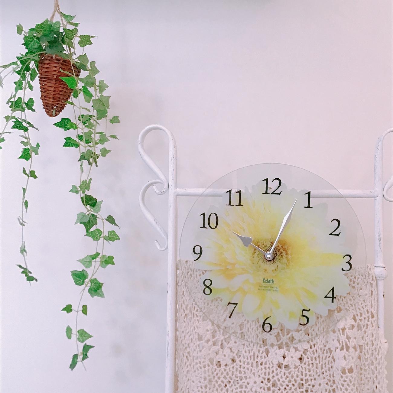 掛け時計/インテリア/おうち時間/ガラス/フラワー/模様替え/ギフト