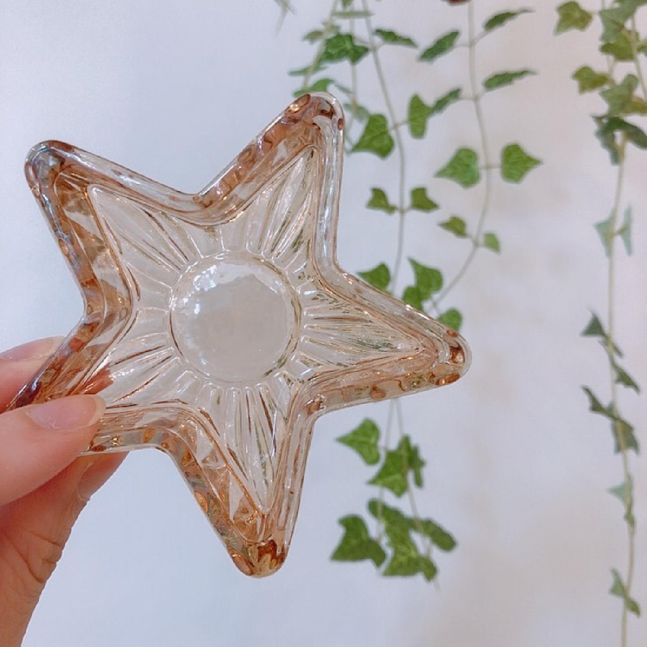 ガラスミニトレー/星型/アクセサリー入れ/キャンドルホルダー/可愛いインテリア