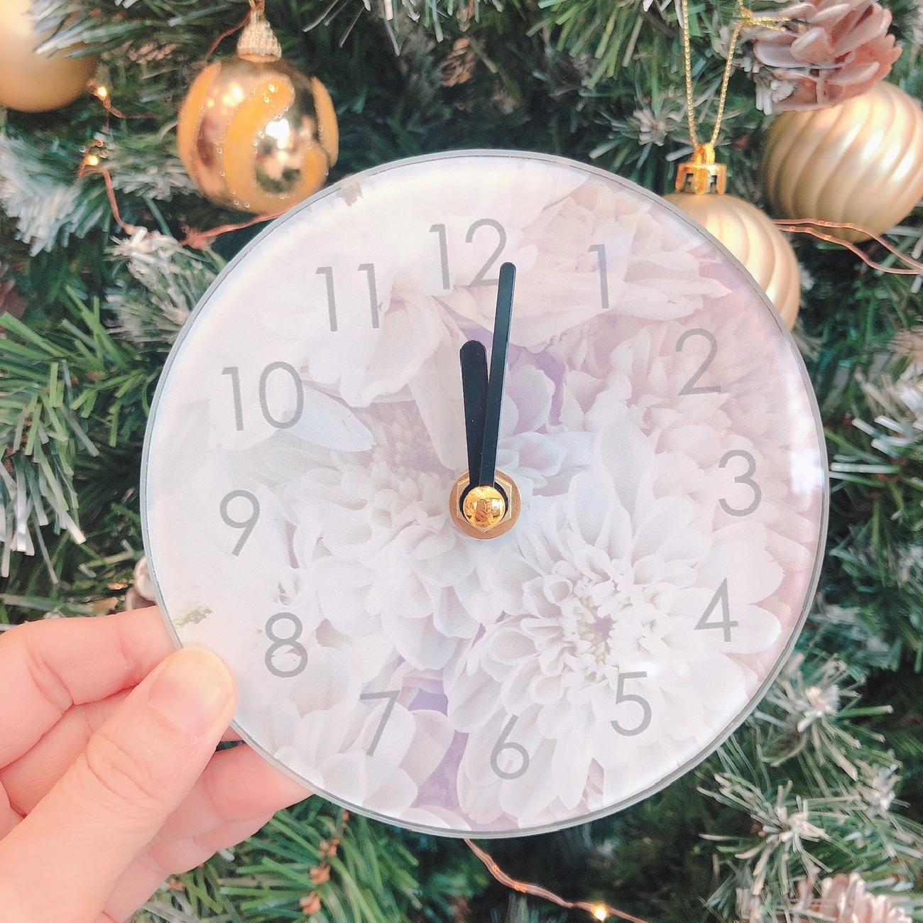 ガラスクロック/置き時計/フラワー柄/お洒落インテリア/模様替え/プレゼント