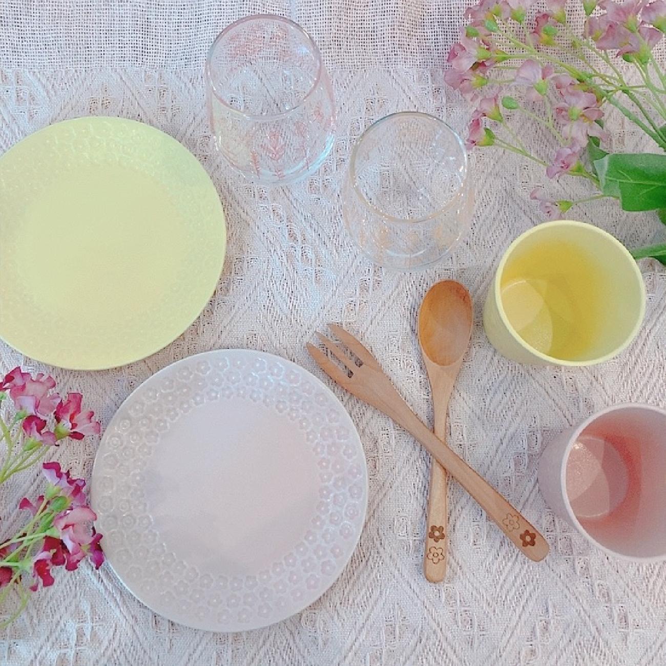 食器/可愛い/春色/お花/花/華やか/食卓/食器マニア/食器好き/食器集め/ご飯/ご飯の時間