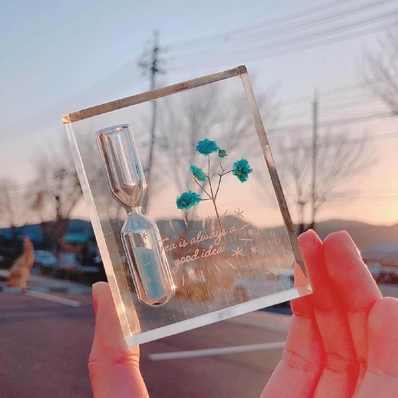 砂時計/カスミ草/インテリア/3分計/おしゃれ