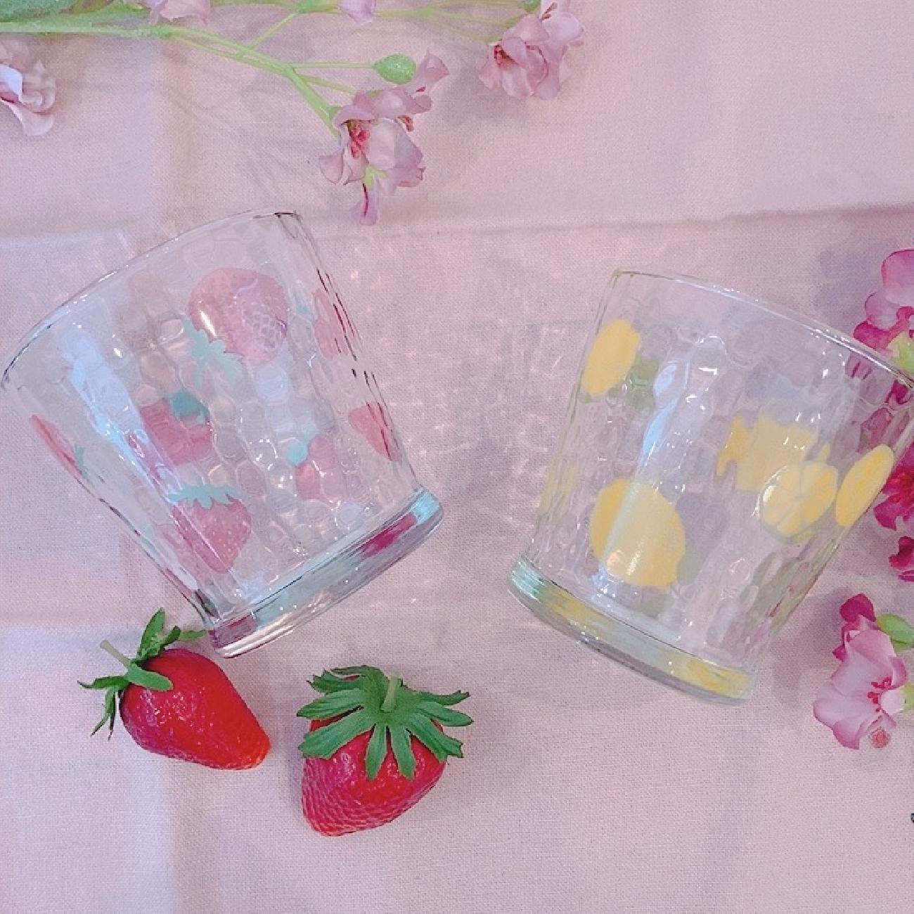 グラス/カップ/フリーカップ/フルーツ/フルーツ柄/いちご/レモン/夏/ガラス/可愛い