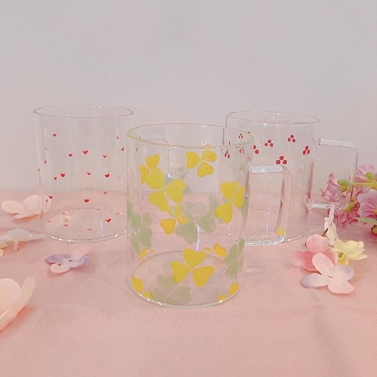 グラス/ビオラ/ラベンダー/花/お花/ペアグラス/タンブラー/お花好き/耐熱マグ/マグカップ/ガラス
